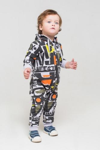 Комбинезон для мальчика, Сrockid манифест на светло-сером, размер 74