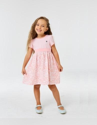 Платье для девочки р.116, бело-розовое с коротким рукавом UMKA