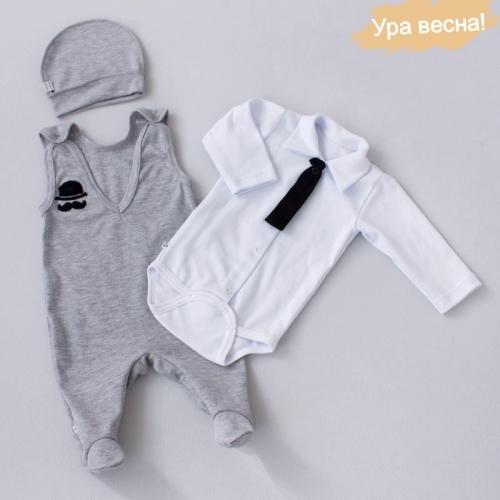 Комплект для мальчика Оксфорд демисезонный Крошкин дом р.20 (рост 62-68 см), бело-серый