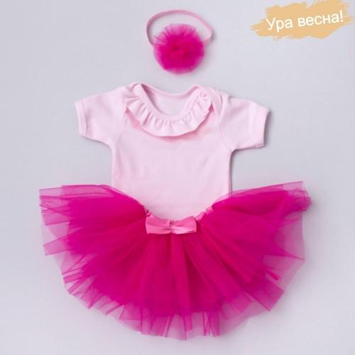 Комплект для девочки Клубника весна-осень Крошкин дом р.22 (рост 68-74 см), розовый