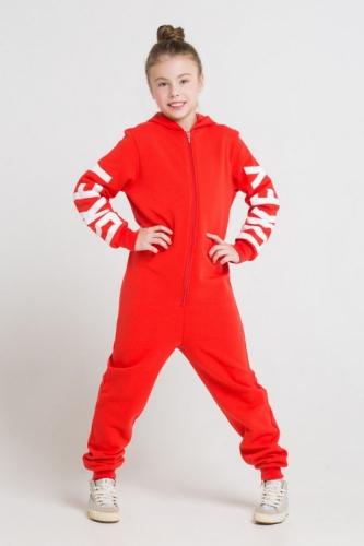 Комбинезон для девочек, Сrockid ярко-красный, размер 140