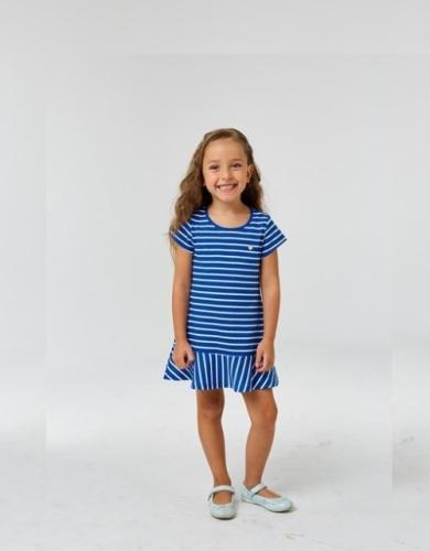 Платье для девочки р.140, бело-синее в полоску UMKA