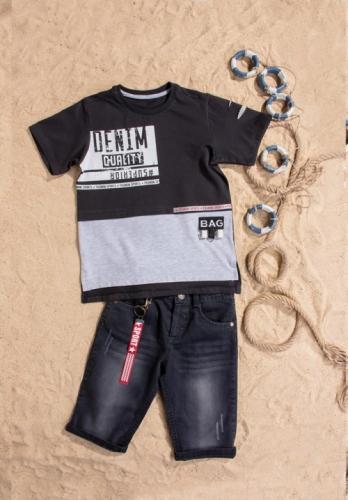 Костюм шорты с футболкой для мальчика, размер 7 лет, черный, Bebus