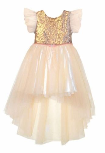 Платье для девочки Bon&Bon с пайетками, персиковое, 4-8 лет