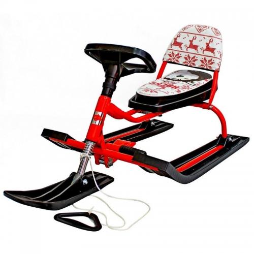 Снегокат Барс SNOWKAT Comfort Хаски со складной спинкой, красная рама - 104