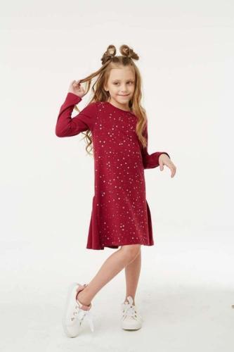 Платье для девочки размер 134, Звезды Бордовое, УМКА