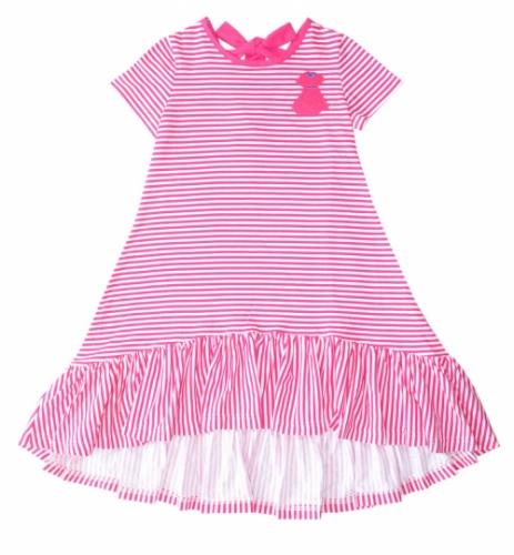Летнее платье для девочки Bon&Bon, бело-малиновая полоска, 5-9 лет