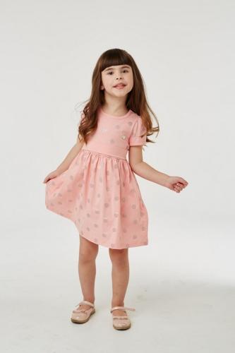 Платье для девочки р.104, серо-розовое в горошек UMKA