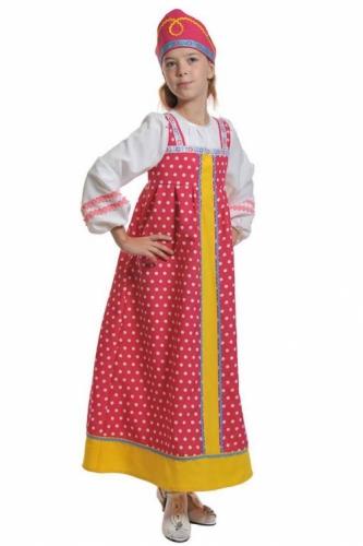 Карнавальный костюм Алёнушка в малиновом (сарафан, кокошник) 7-9 лет