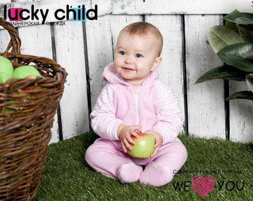 Комбинезон Lucky Child ПОЛОСКИ с капюшоном на молнии (арт. 4-13) экрю,размер 20 (62-68)