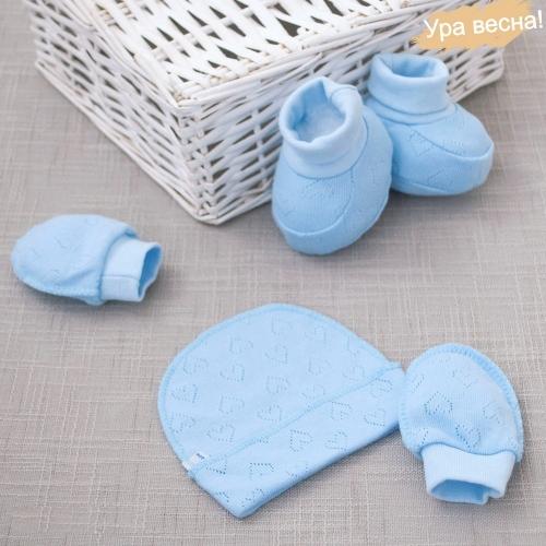 Комплект набор для новорожденного в роддом, демисезонный Крошкин дом голубой