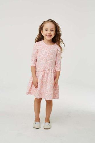 Платье для девочки размер 152, розовое с розами, УМКА