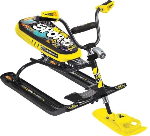 Снегокат Nika - Snowdrive с высоким рулем, графити желтые, черная рама - СНД-3
