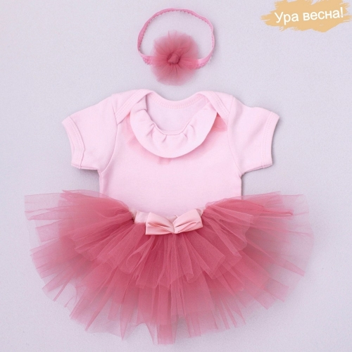 Комплект для девочки Малина весна-осень Крошкин дом р.28 (рост 86-92см), розовый