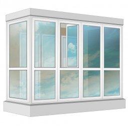 Остекление балкона ПВХ Rehau в пол с отделкой вагонкой без утепления 3.2 м Г-образное