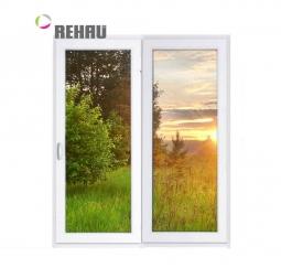 Окно раздвижное Rehau 2100x2000 двухстворчатое ЛР1000/ПГ1000 1 стеклопакет