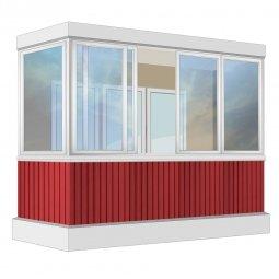 Остекление балкона Алюминиевое Provedal с отделкой ПВХ-панелями без утепления 3.2 м Г-образное
