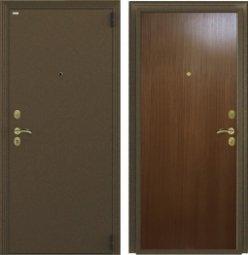 Стальная дверь Гардиан Фактор К медный антик/темный орех правая 2 замка  980x2050 мм