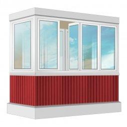 Остекление балкона ПВХ Rehau 2.4 м П-образное