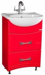 Тумба под умывальник Домино Уют 50 Смайл с двумя ящиками красная 72x29.1x49